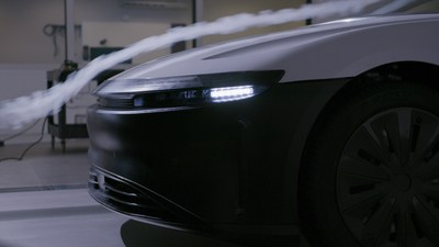 The Lucid Air's sleek front end allows it to achieve its industry-leading drag coefficient of 0.21, and also features a patented vortex-generating air intake system behind the front bumper that uniformly distributes air on heat exchangers to maximize cooling performance while minimizing the size of the air intake aperture.