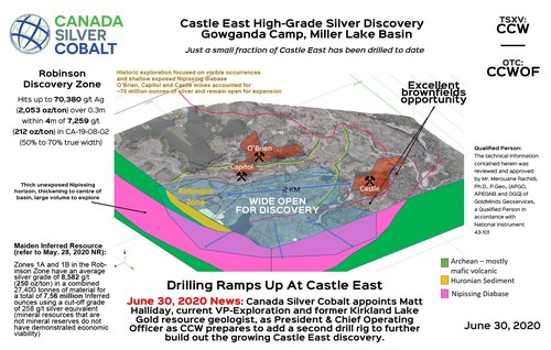 Castle East 3D Map (CNW Group/Canada Silver Cobalt Works Inc.)