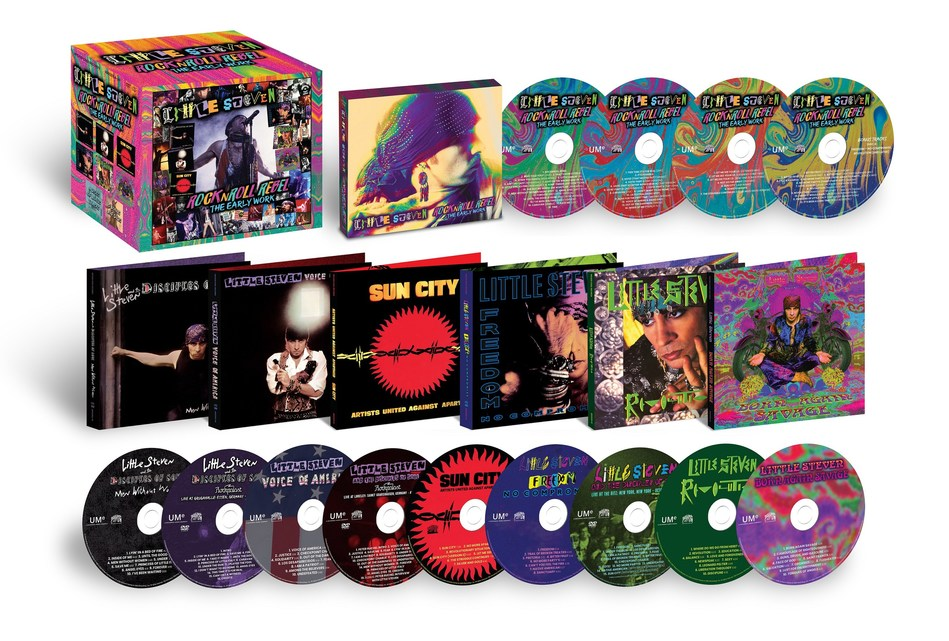 Little Steven will release the eagerly awaited CD/DVD edition of his acclaimed career-spanning box set, 'RockNRoll Rebel – The Early Work (Wicked Cool/UMe).' The 13-disc set collects all of the Rock & Roll Hall of Famer's solo records between 1982 and 1999 with 3 concert DVDs and four discs of bonus tracks.