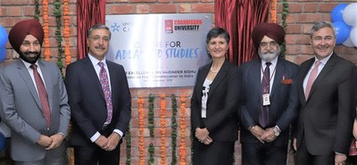 Harinder Sidhu, Australian High Commissioner to India inaugurating the Indo-Australian Centre for Advanced Studies at Chandigarh University Campus along with Satnam Singh Sandhu, Chancellor Chandigarh University, Dr. Deep Saini, Vice-Chancellor and President University of Canberra.