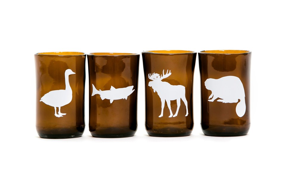 Upcycled beer bottle hand blown glass tumblers (CNW Group/Caribou Home)