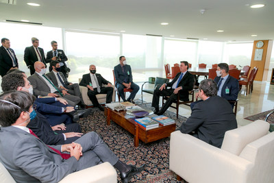 Bolsonaro during meeting with representatives of eight soccer teams. Credit: Felipe Menezes