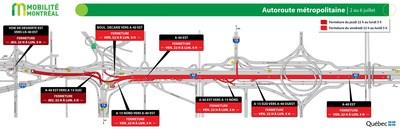 A-40 EST (Métropolitaine) - Fermeture complète - 2 au 6 juillet 2020. (Groupe CNW/Ministère des Transports)