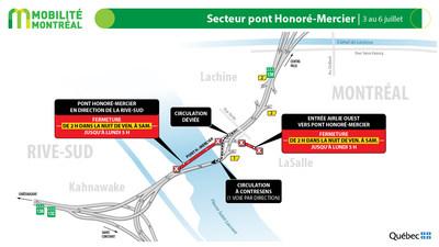 Entraves - Secteur pont Honoré-Mercier (Groupe CNW/Ministère des Transports)