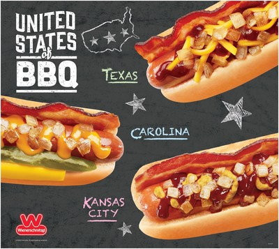 Fire up those taste buds because Wienerschnitzel's new United States of BBQ Dogs are coming in hot! Topped with the traditional regional fixins from Texas, Carolina, and Kansas City, these saucy new creations will have you feeling all the flavors of summer. Drop by today and dig into a delicious BBQ Dog, the Wienerschnitzel way.