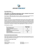 GEAR ENERGY LTD. ANNOUNCES OPERATIONAL UPDATE, GUIDANCE FOR 2020 AND EXTENSION OF BORROWING BASE REDETERMINATION (CNW Group/Gear Energy Ltd.)