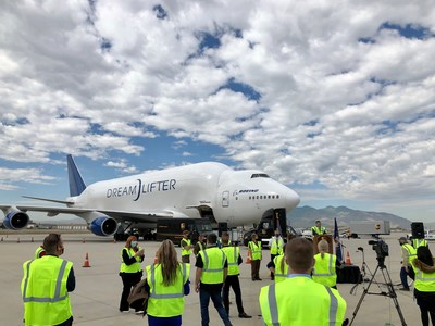 Representatives from the Utah Governor's office, Boeing, Atlas Air, Cotopaxi, Flexport, H.M. Cole and UPS gather at Salt Lake City International Airport to accept 500,000 protective face masks bound for Utah students and teachers. (Boeing photo)