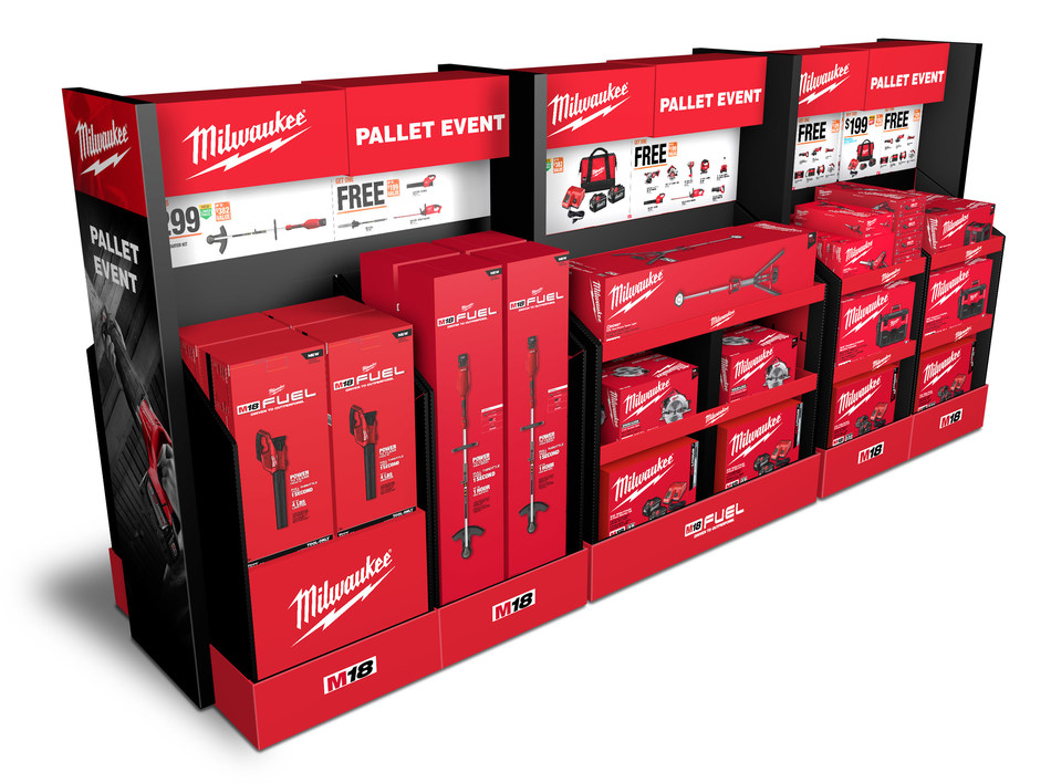 "Menasha Packaging Company won a gold OMA award for this 2-sided display for Milwaukee Tools, known among power tool enthusiasts as the ""Cadillac of tools."" To showcase the variety of tool combinations, designers ensured the display could support the weight of the tool products and would easily reduce in size as the products sold to maintain a fully stocked presentation in Home Depot stores throughout the U.S."