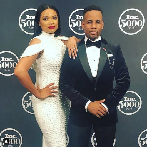 Dolmar Cross, with his wife Keisha, accepting the honor of being #281 on the Inc. 5000 list of fastest-growing private companies in America for 2019.