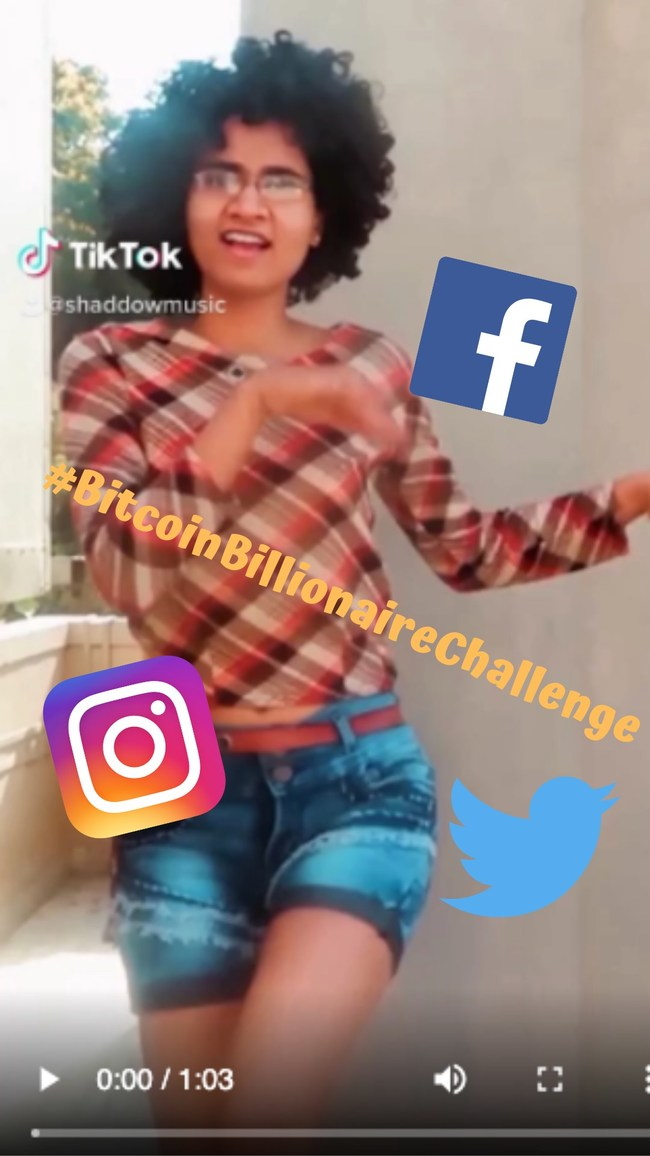 Dancer participating in the Bitcoin Billionaire Challenge by Shaddow on Tiktok
