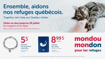 Mondou lance la 3e édition de sa campagne Mondou Mondon au profit des refuges (Groupe CNW/Mondou)