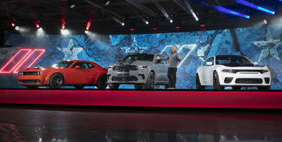 Tim Kuniskis, Global Head of Alfa Romeo and Head of Passenger Cars – Dodge, SRT, Chrysler and FIAT, FCA – North America, introduces three 700+ horsepower SRT versions across the Dodge lineup for the 2021 model year. Introducing (left to right) the 807-horsepower Dodge Challenger SRT Super Stock, 710-horsepower Durango SRT Hellcat and 797-horsepower Charger SRT Hellcat Redeye.