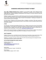 ShaMaran Announces Interest Payment (CNW Group/ShaMaran Petroleum Corp.)