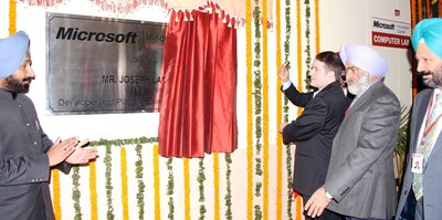 Microsoft, General Manager, India, Mr. Joseph Landes inaugurating state-of-the-art Research technology facility at Chandigarh University