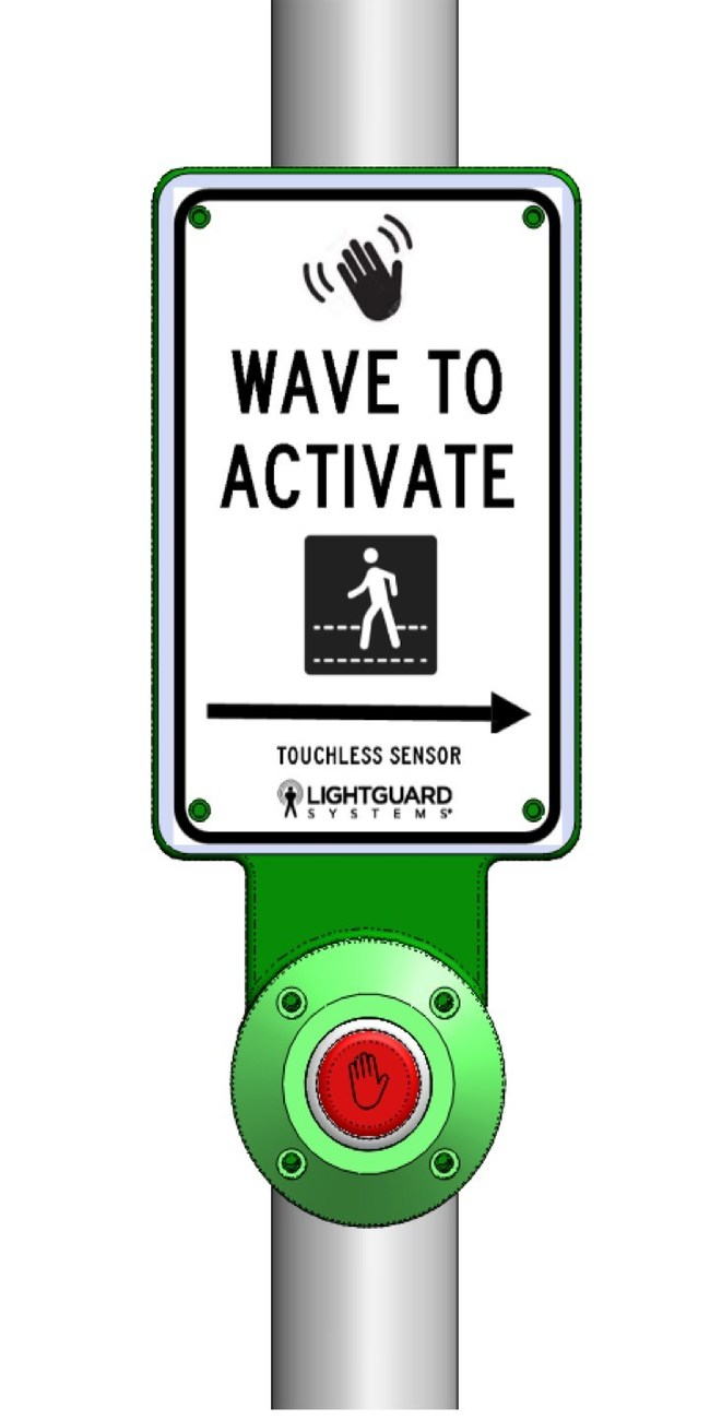 SmartSense™ touchless PED push button helps reduce pedestrian exposure to contact viruses commonly found on push button surfaces