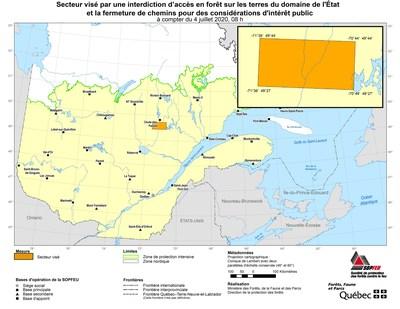 Voici la carte de localisation du territoire touché (Groupe CNW/Ministère des Forêts, de la Faune et des Parcs)