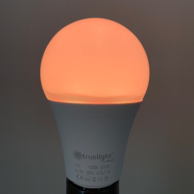 TrueLight Luna Red™ Sunset Sleep Light Bulb primarily emits red wavelengths of light that are conducive for better sleep quality.