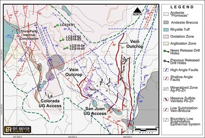 Figure 1: San Juan-La Colorada Area Geology – Drill Hole Location Map (CNW Group/GR Silver Mining Ltd.)
