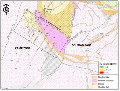 Figure 2. Geological map with surface and drill core samples showing the main target areas in the area of the Camp deposit. (CNW Group/Luminex Resources Corp.)