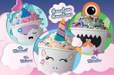 Three lovable Creatures, a Unicorn, Mermaid and Monster, cross over from their magical world into Baskin-Robbins shops through playful cup designs, an edible white chocolate topper and a colorful explosion of sprinkles. For more information or to find a store near you, visit www.BaskinRobbins.com