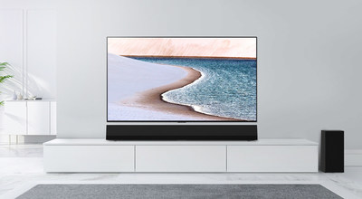 The LG GX sound bar boasts 3.1 channels with advanced features and sophisticated aesthetics designed to complement the award-winning LG GX Gallery series OLED TVs.