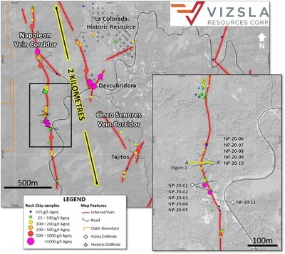 Vizsla Resources | Cross section through holes NP-20-06, NP-20-07 and NP-20-08. (CNW Group/Vizsla Resources Corp.)