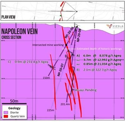 Vizsal | Cross section through holes NP-20-06, NP-20-07 and NP-20-08. (CNW Group/Vizsla Resources Corp.)