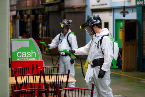 LONDON: BioProtectUS System being used across Brixton Village, London earlier today. This is a revolutionary technology providing antimicrobial protection for up to 90 days and protects against SARS-CoV2 for more than six weeks.