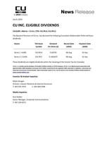 CU Inc. Q3 2020 Dividends (CNW Group/CU Inc.)