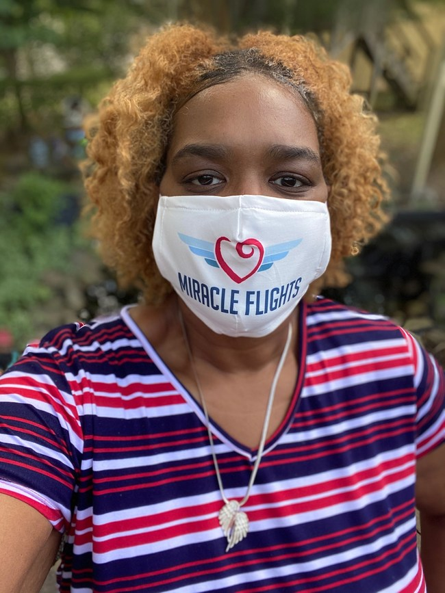 The national medical flight charity Miracle Flights is supplying non-medical grade face masks to all of its current flyers-such as Kerri Smith of Memphis, Tennessee (pictured)-to help accommodate airline guidelines and encourage safety precautions. Now in its 35th year, Miracle Flights provides free plane tickets to patients who need to travel for specialized medical care far from home. Tickets are provided for patients and up to two caregivers at no cost and as many times as necessary.