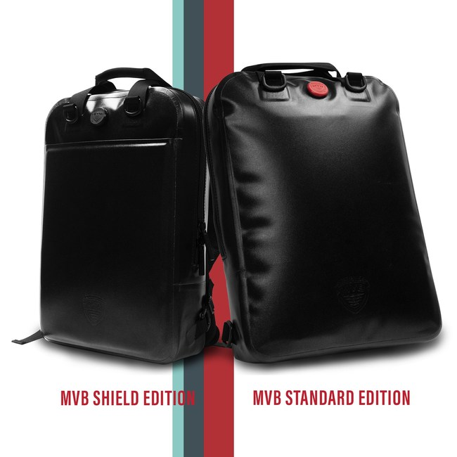 The Standard MVB backpack is waterproof and airtight, while the Shield edition is also bulletproof.