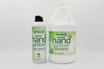 New BioProtect hand sanitizer comes in a 100% recyclable 8-ounce can that uses compressed air instead of chemicals. It is also available as a liquid formula in a refill bottle.