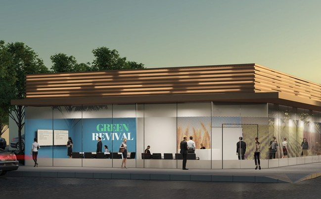 Cannabis Retail Dispensaries, such as this rendering depicts, are required to be robustly secured, patrolled and monitored but are not permitted in over 75% of California communities pushing increased levels of non-taxed sales to unlicensed operators.