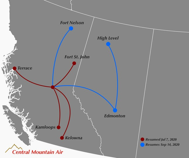 Central Mountain Air is resuming flights to destinations in British Columbia and Alberta. (CNW Group/Central Mountain Air Ltd.)