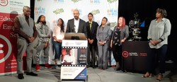 LA Urban League COO, Brian Williams, officially launched Backstage Careers Program at Los Angeles City College surrounded by students from Better Youth and representatives from Hillman Grad Productions, Los Angeles County, and Los Angeles City College's cinema and television department.