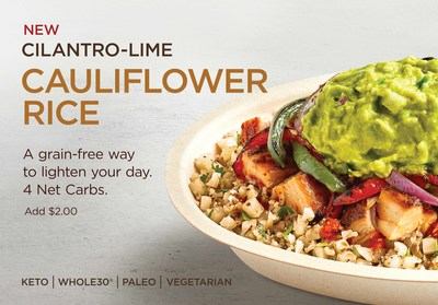 Chipotle will test Cilantro-Lime Cauliflower Rice at 55 restaurants in Denver and throughout Wisconsin starting July 15. Chipotle's latest plant-based option is made with real, grilled cauliflower, seasoned with fresh-chopped cilantro, lime juice and salt, prepared fresh in-restaurant every day.