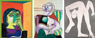 Pablo Picasso, Portrait of Dora Maar, 1937. Oil on canvas, 55.3 x 46.3 cm and Reading, 1932. Oil on canvas, 130 x 97.5 cm. Musée national Picasso-Paris Photo © RMN-Grand Palais (Musée national Picasso-Paris) / Mathieu Rabeau © Picasso Estate – SOCAN //Pablo Picasso, The Acrobat, 1930.Oil on canvas, 162 x 130 cm. Musée national Picasso Paris Photo © RMN-Grand Palais (Musée national Picasso-Paris) / Adrien Didierjean © Picasso Estate – SOCAN (CNW Group/Musée national des beaux-arts du Québec)
