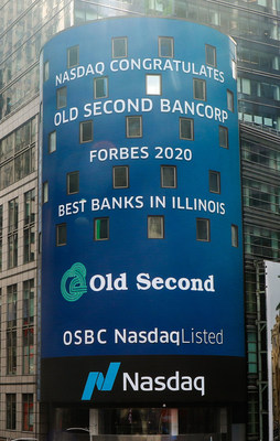 "The New York NASDAQ marquee recognizes Old Second National Bank as ""Best Bank in Illinois"" in Forbes/Statista study."