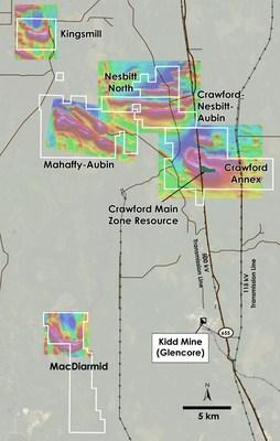 Figure 1 – Plan view of Crawford, Kingsmill, Nesbitt-Aubin, Nesbit North, MacDiarmid and Mahaffy-Aubin Properties, Ontario. (CNW Group/Canada Nickel Company Inc.)