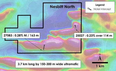 Figure 4 – Plan view of Nesbitt North Property – Historical drilling overlain on total field magnetic intensity, Nesbitt Township, Ontario. (CNW Group/Canada Nickel Company Inc.)