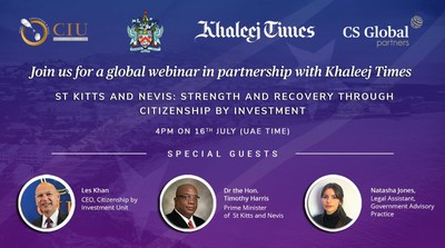 """Join Khaleej Times for a webinar on """"St Kitts and Nevis: Strength and Recovery through Citizenship by Investment,"""" on July 16, 2020"""