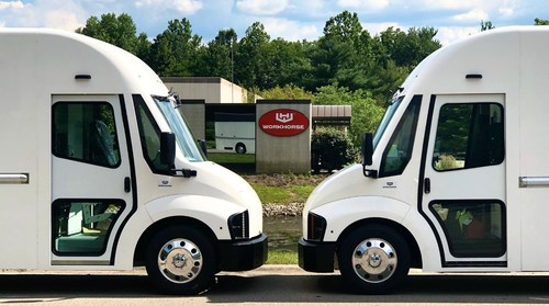 Workhorse C-Series all-electric step vans located outside Company offices