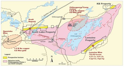 Figure 1. Location map of Yorbeau's projects in the Chibougamau camp, Quebec, including KB property. (CNW Group/Yorbeau Resources Inc.)