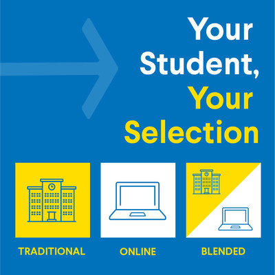 Parents may select a Traditional, Online, or Blended Learning model for their student according to what best fits the needs of their family.