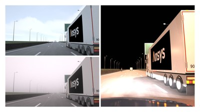 Ansys  SPEOS  validates  camera  perception  in  various  environments  (day,  fog,  night)