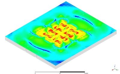 Electric  field  animation  of  a  28  GHz  5G  array  composed  of  probe  fed  patch  antenna  elements  in  Ansys  HFSS