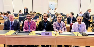 INRS Professor Sofiène Affes and his two students Oussama Ben Smida and Souheib Ben Amor (2nd to 4th from the right), accompanied by Venkatesh Sampath from Ericsson Canada (right) and Serge Bertuzzo from Bell Canada (left), at the ITU meeting in Geneva in February 2020. (CNW Group/Institut National de la recherche scientifique (INRS))