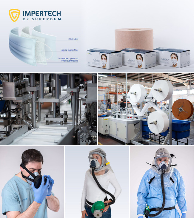 """Three layer Surgical Face Mask """"SAFETECH"""" produced by Impertech-Supergum to be purchased in millions by governments and Health-Ministries around the world. Highest protection level for medical & Civil against coronavirus COVID-19."""