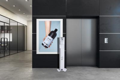 La borne distributrice de gel antiseptique pour les mains Exora (Groupe CNW/Groupe Cambli)