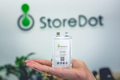 StoreDot has developed a new generation of lithium-ion battery technology that is capable of recharging an electric vehicle in five minutes (PRNewsfoto/StoreDot)